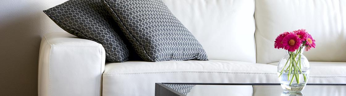 dark cushions white couch